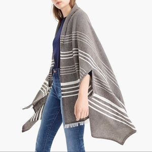 NWT J. Crew Gray Striped Cape Scarf One Size